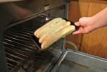 Place your garlic bread in the fully preheated oven to begin cooking.