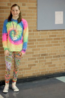 """THURSDAY: Sophomore Emma Van Houten in her outfit for mismatch day. """"I wanted to really stand out, and just show my personality,"""" Van Houten exclaimed. Photo Credit / Hannah Pittman"""
