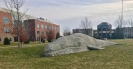 Life-size Whale on WMU's Campus. Photo Credit / Josh Wild