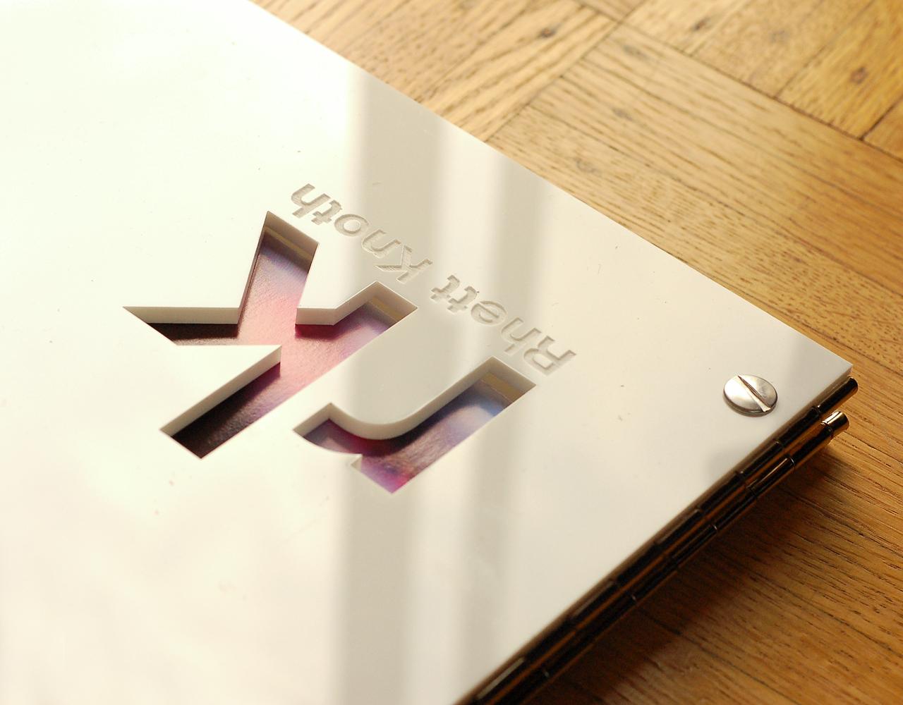 Interior Designer Portfolio Book 11 x 14 White Acrylic with custom Engraving and Cutout