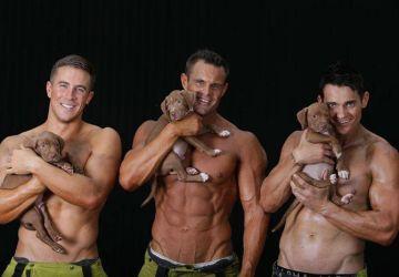 Charitatívna akcia v podaní sexi hasičov a roztomilých šteniatok!