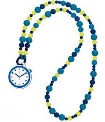 Collar pop con piedras en color azul marino, azul claro y amarillo