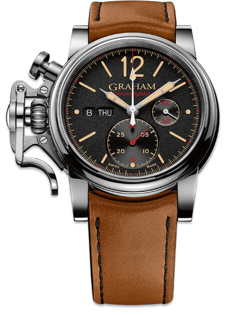 Reloj Graham con correas en color camel, caja plateada y dial negro