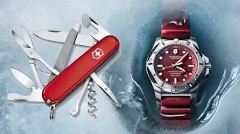 Portada con una navaja en color rojo y un reloj Victorinox en color rojo con la cartula plateada