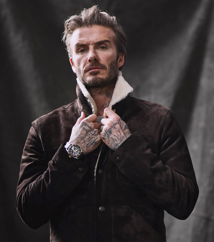 Tudor y su embajador David Beckham vstiendo el Black Bay Chrono