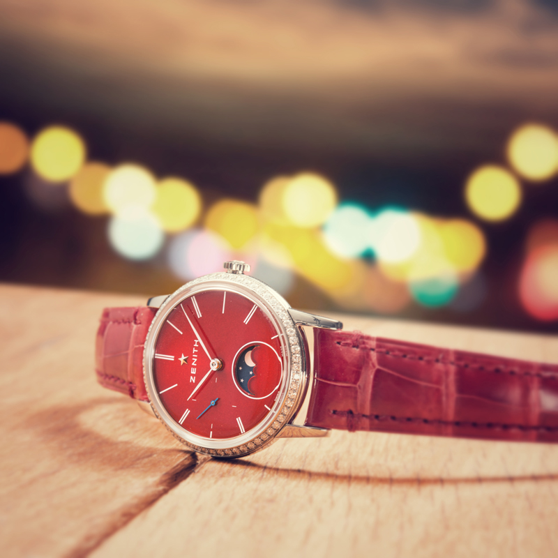 Elite Lady Moonphase de Zenith color rojo.