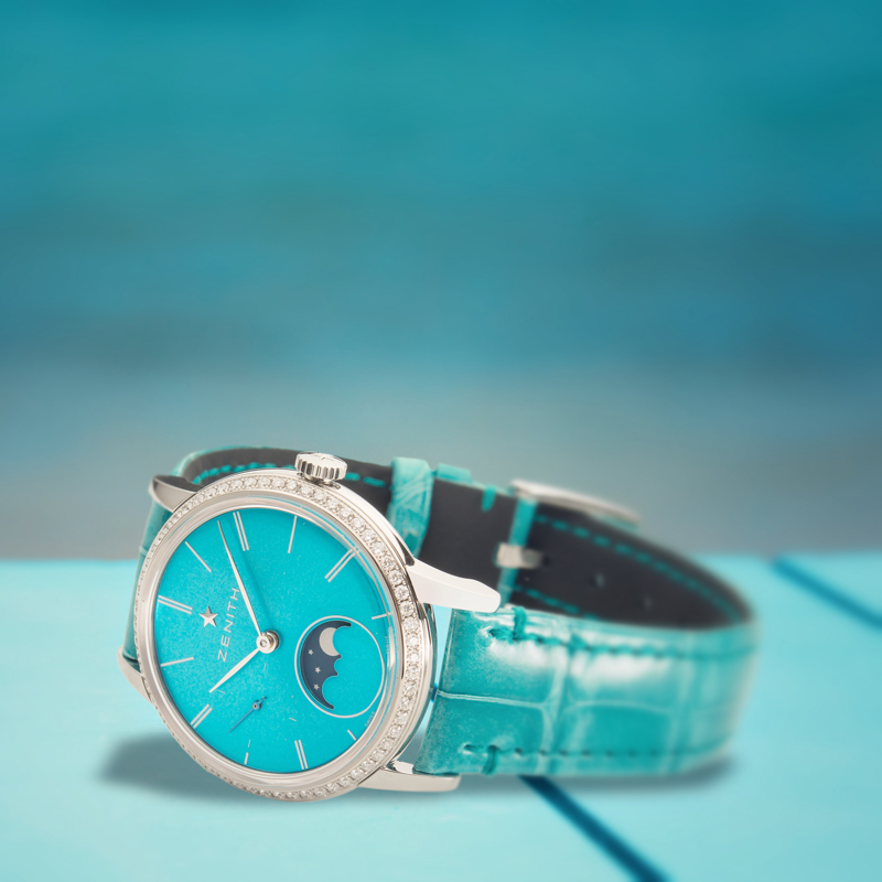 Elite Lady Moonphase de Zenith color azul.