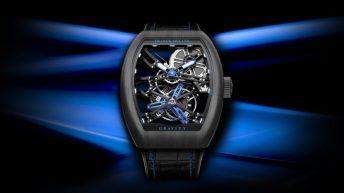 Reloj Franck Muller en color negro con detalles azules en forma esqueletizada
