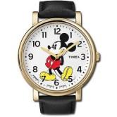 Reloj Timex con correas negras y caratula plateada con detalles en blanco y negro con la imagen de Mickey Mouse