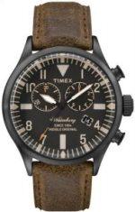 Reloj con correas en color café y caratula en color negro con detalles grises