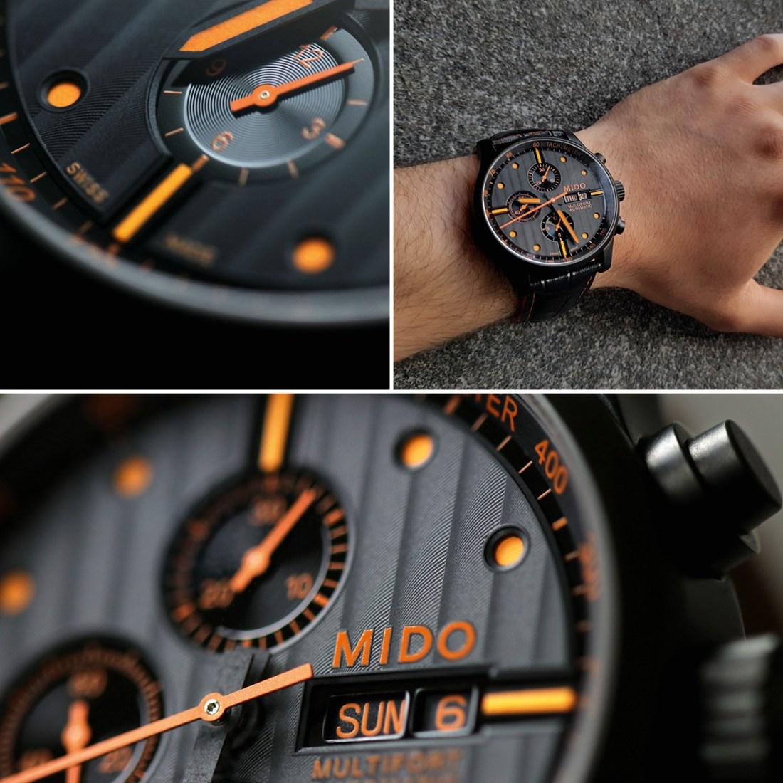 Caratula del reloj MIDO visto de diferentes ángulos en color negro con detalles naranjas