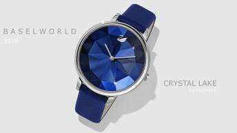 Reloj Swarovski con correas en color azul y caratula de cristal en tonos azules