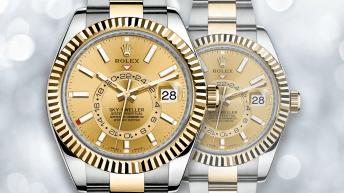 Reloj Rolex en color plateado con detalles dorados y dial en color dorado