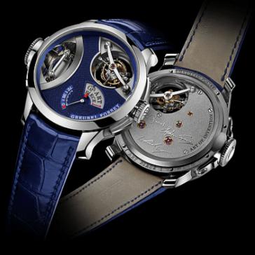 Reloj azul de ambos lados, pieza de arte