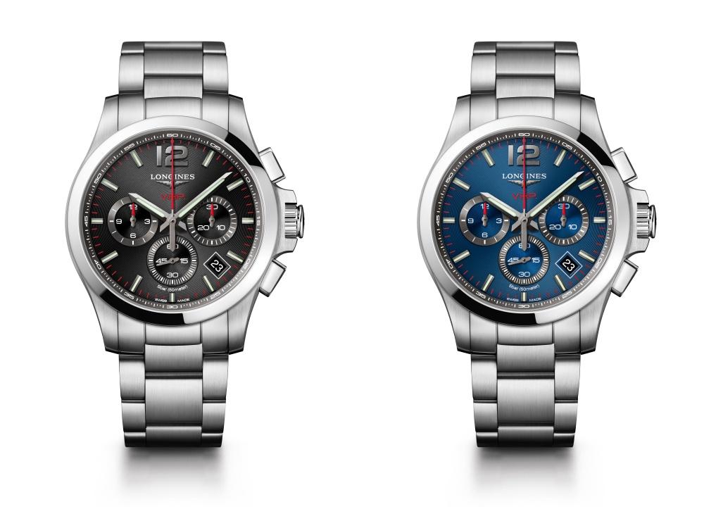 Relojes Longines en colores negro y azul respectivamente de la Colección Very High Precision