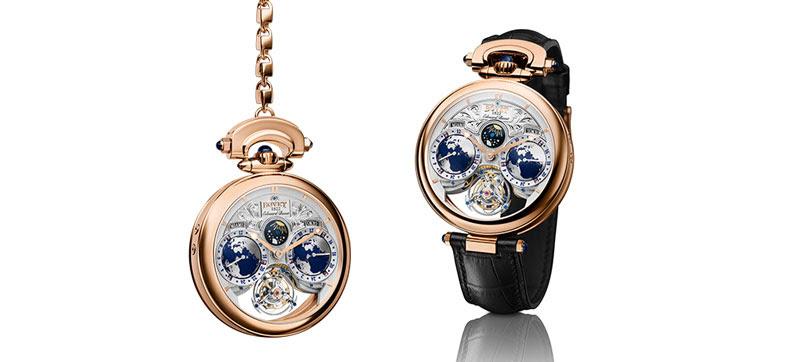 Relojes Bovet con marco en dorado y fondo en colores blanco y azul