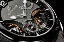 Reloj negro elegante mostrando piezas de su relojería