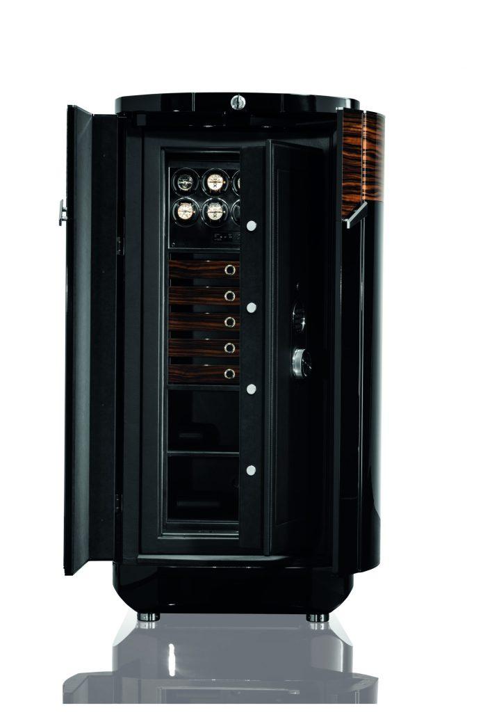 Las apariencias engañan BUBEN & ZORWEG, caja fuerte color negro con detalles en color naranja abierta
