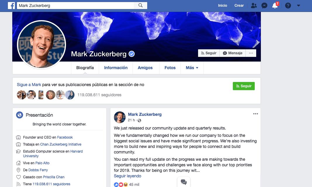Captura de pantalla del perfil de Facebook de Mark Zuckerberg