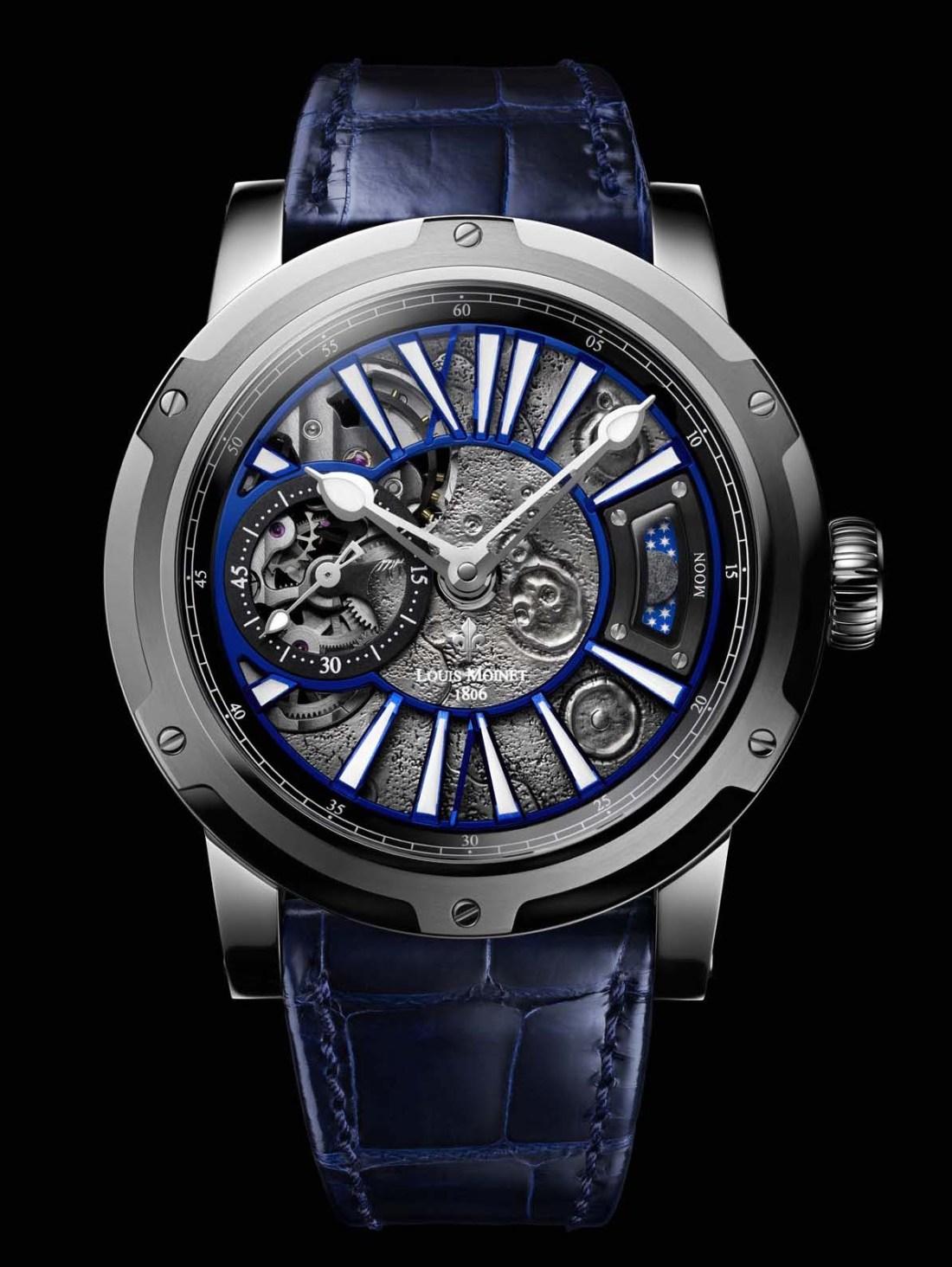 Reloj con correas de piel en color azul con detalles en color plateado con blanco