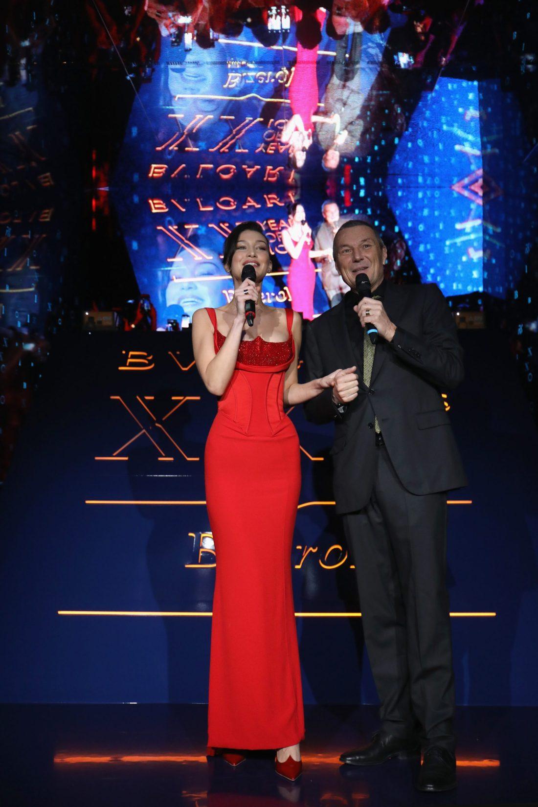 Bella Hadid y Jean-Christophe Babin como anfitriones del evento Bvlgari