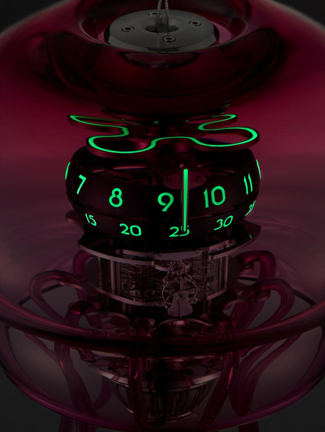 Vista de la estructura de un reloj Medusa por dentro con detalles en color verde