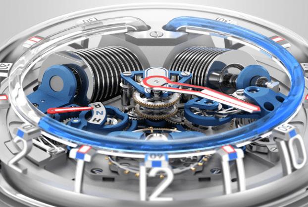 Estructura que lleva un reloj líquido por dentro con materiales en color plateado y azul