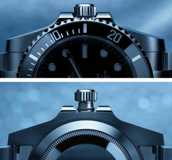 Vista de la corona del reloj Rolex vista de frente y detrás en color plateado