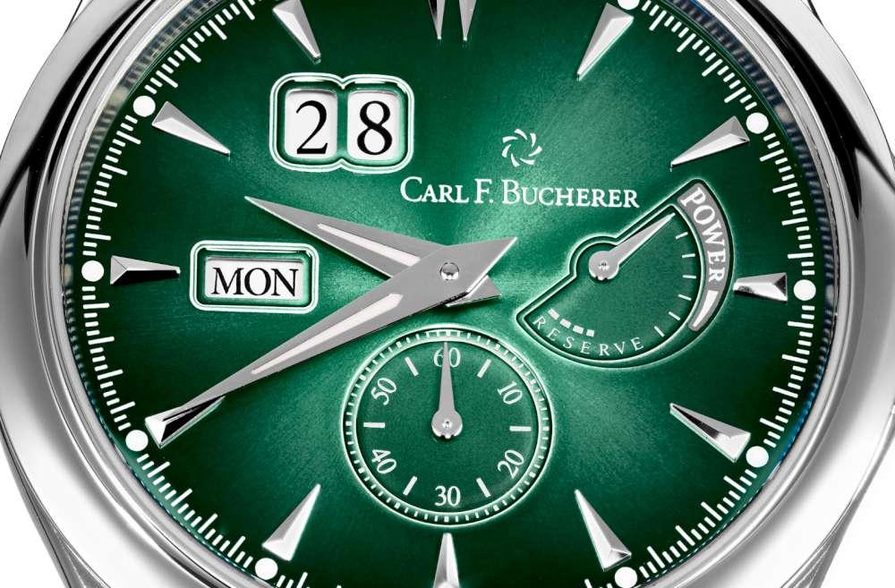 Dial reloj Manero PowerReserve en color verde con detalles en color plateado