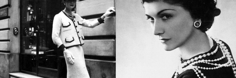 Fotografias de Gabrielle Chanel en blanco y negro usando saco y falda en color blanco
