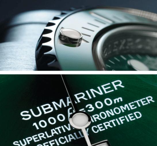 Reloj rolex visto de cerca mostrando un texto con letras blancas