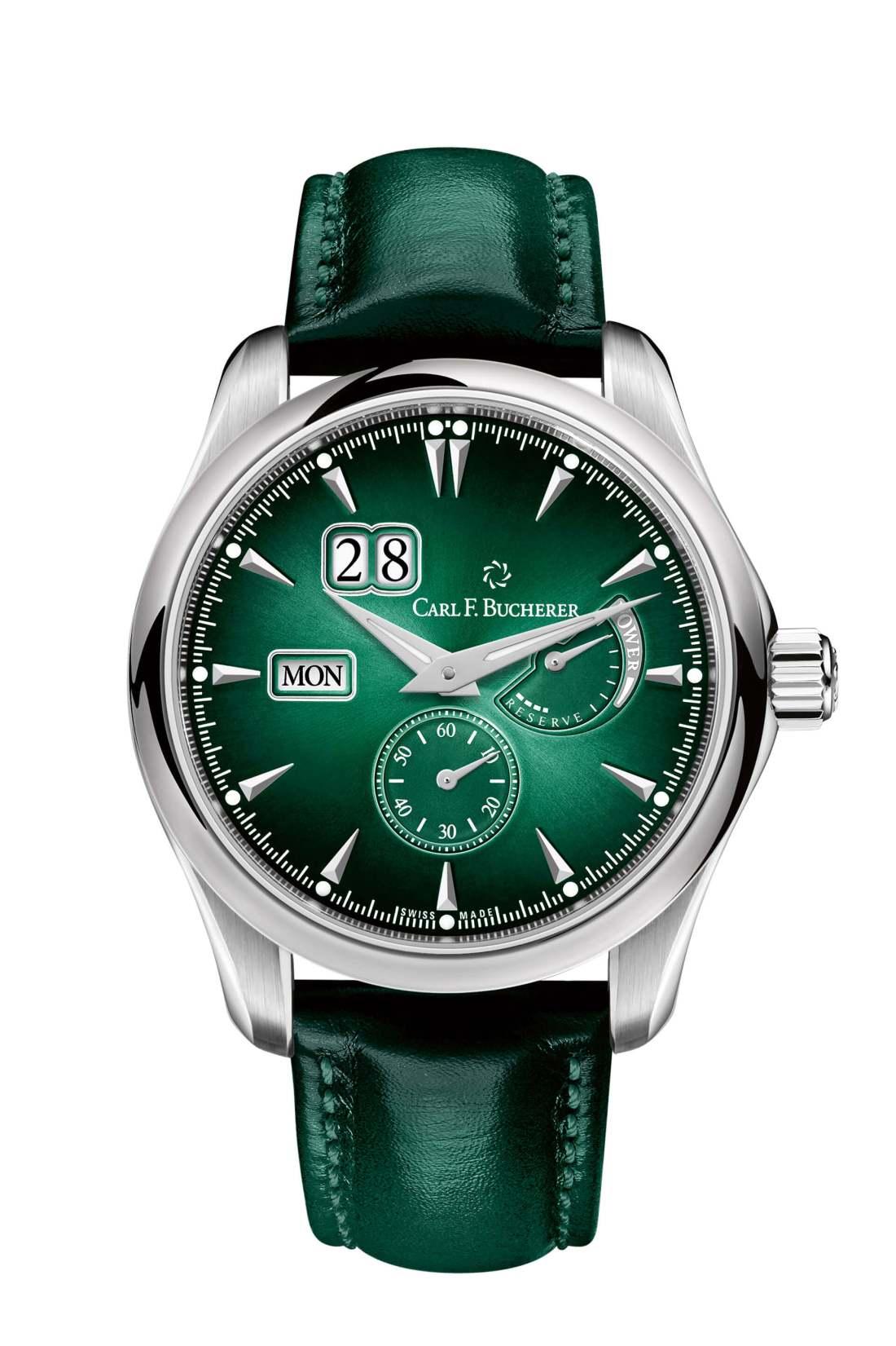 Reloj Manero PowerReserve con dial y correas en color verde y detalles en color plateado