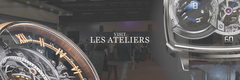 Portada Visit Les Ateliers con personas caminando y relojes en las esquinas de Baselworld 2019 quinto día