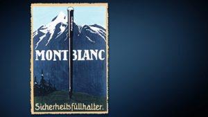 Carta con el nombre Montblanc con imagen de una montaña y arboles con el fondo en color azul