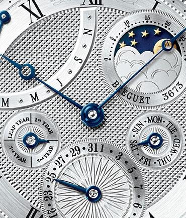 Caratula de un reloj Breguet color plata y azul con Guilloché Technique