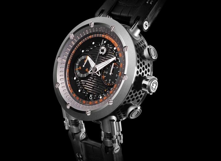 Reloj MW&Co con caratula en color plata con detalles en naranja y correas negras