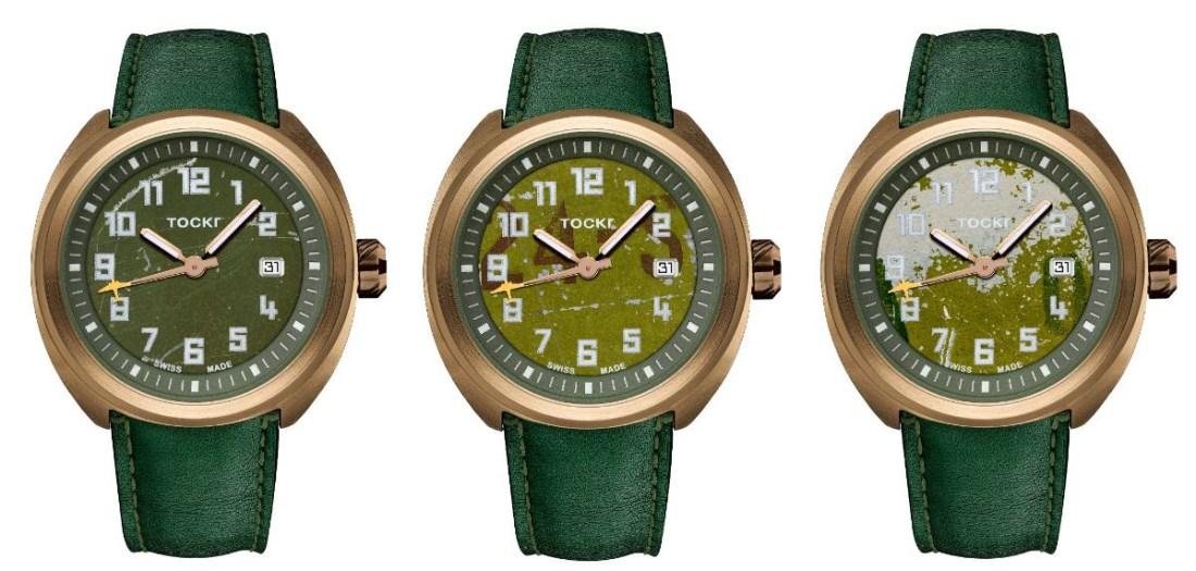 Modelos de relojes con correas en color verde con carátula en color dorado con detalles en verde y blanco