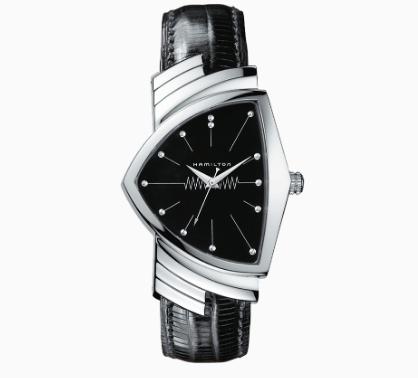 Reloj con correas negras y caratula en color plateado con negro