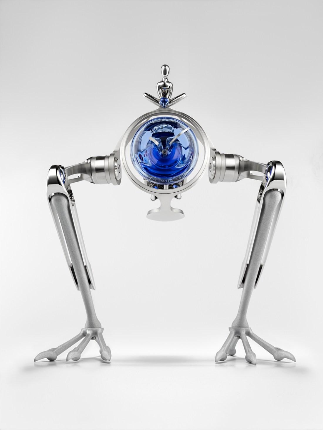 Reloj T-Rex en color plata con detalles en azul de frente