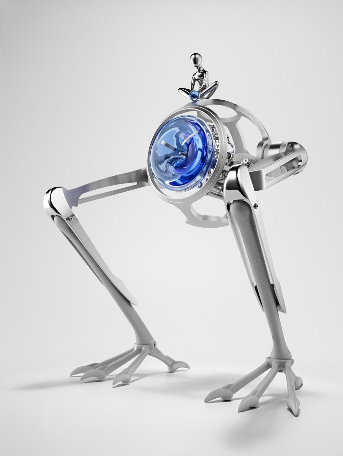 Reloj T-Rex en color plateado con detalles en azul