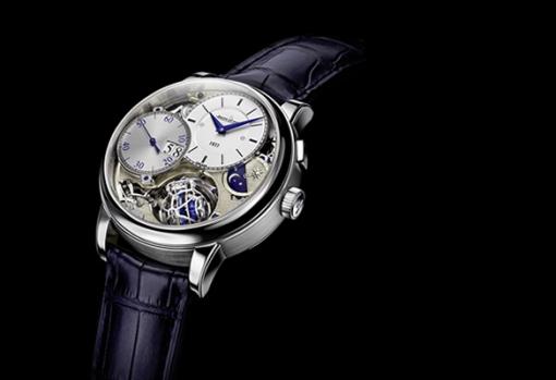 Reloj el Master Grande Tradition Gyrotourbillon 3 Jubilee con correas azul marino y caratula plateada con detalles azules