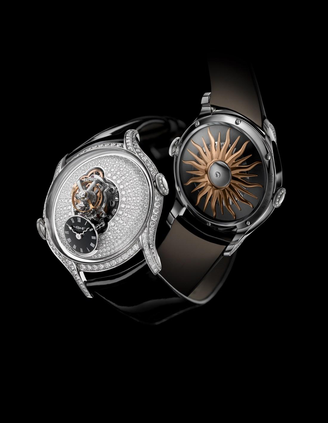 Reloj con correas negras y caratula con diamantes visto de frente y por detrás
