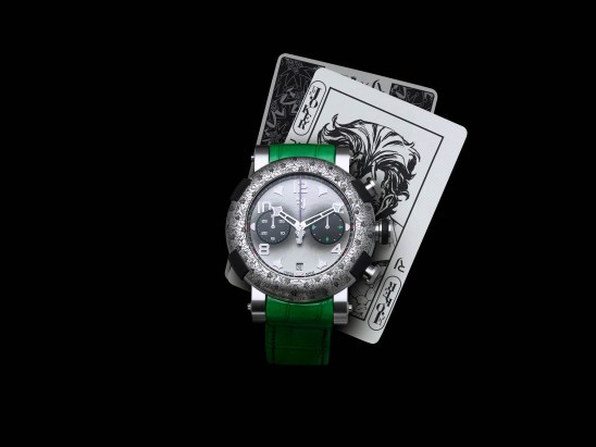 Reloj RJ Batman con correas verdes y detalles en color plateado con cartas atrás