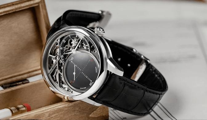 Reloj Mysterious Second con correas negras y caratula en plateado con detalles negros