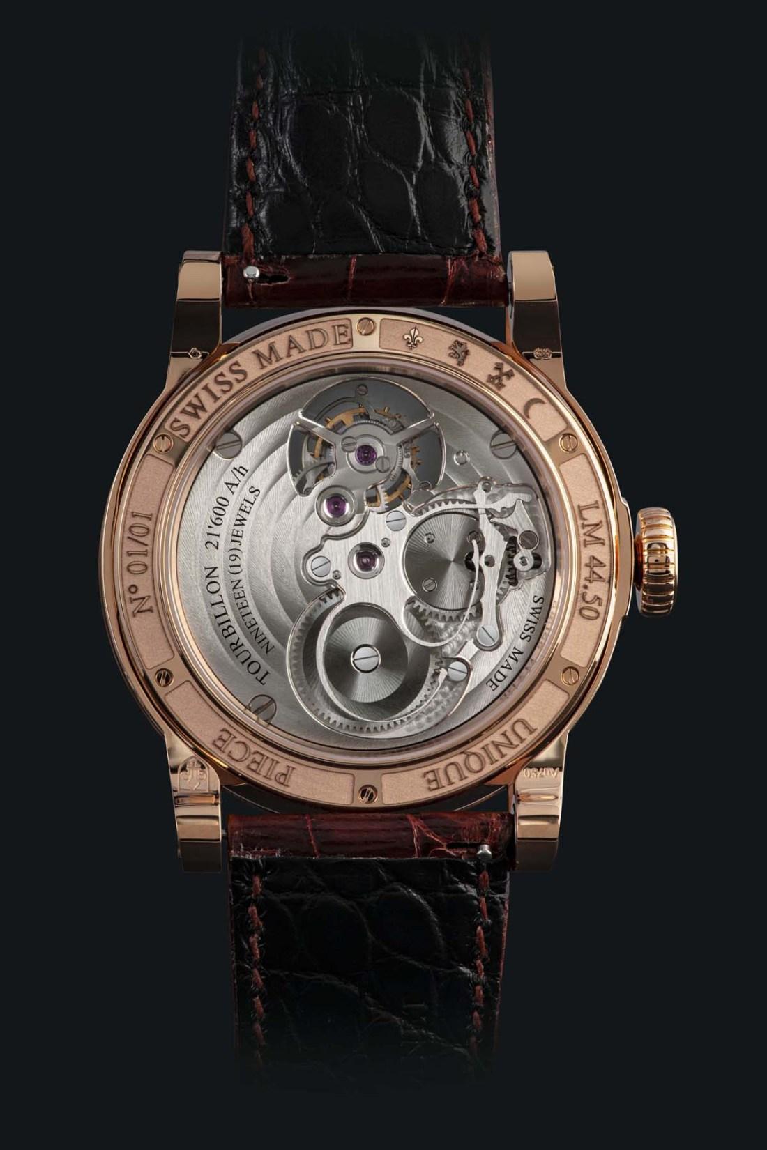 Vista trasera del reloj Only México con engranes