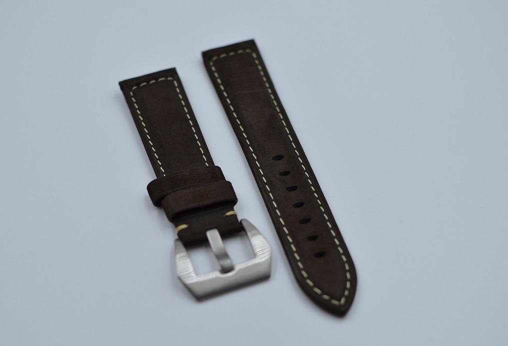 22 mm brun lærreim