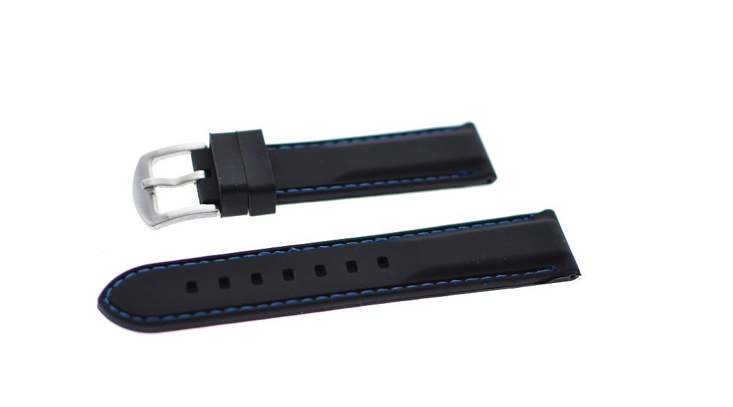 20 mm sort silikonreim med blå søm