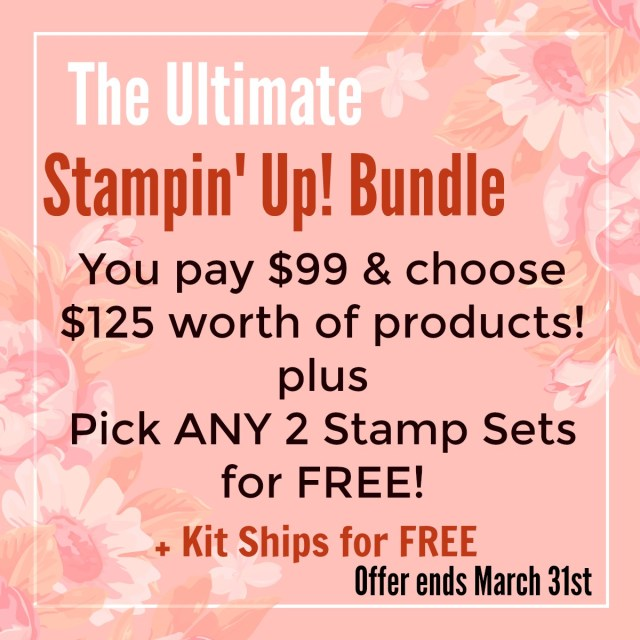 Get up to $229 of Stampin' Up! products of your choice for just $99. Join Stampin' Up! by March 31st to get this great deal!