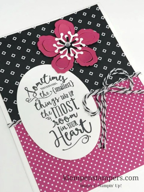 Make quick and easy cards by letting the paper be the focus and then adding a greeting. Also added a flower made with the Botanical Builder framelits. Card my Jackie Bolhuis