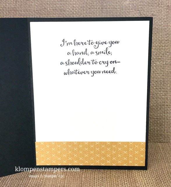 Quick and easy masculine thinking of you card using Stampin' Up! Sending Thoughts stamps and Urban Underground DSP. Card by: Jackie Bolhuis